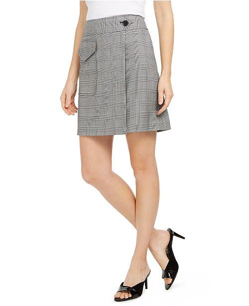 Calvin Klein X-Fit Slim-Fit Plaid Faux-Wrap Skirt