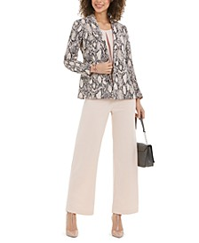 Single-Button Blazer, Sleeveless Top & Flare-Leg Dress Pants