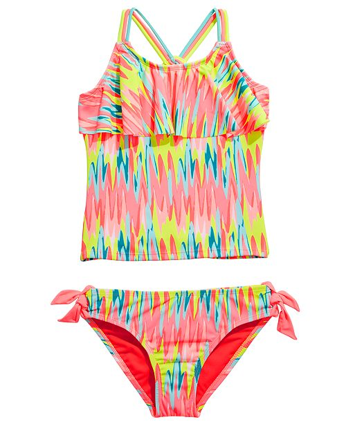 Breaking Waves Big Girls 2-Pc. Washed Out Flounce Tankini