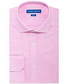 Men's Slim-Fit Stretch Pink Unsolid Solid Dress Shirt