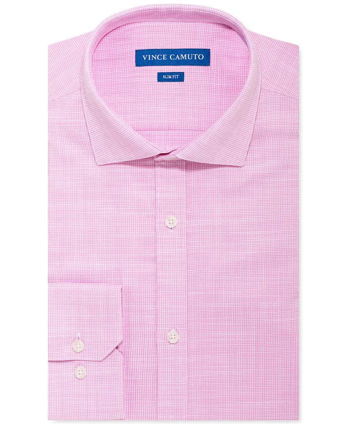 Vince Camuto - Men's Slim-Fit Stretch Pink Unsolid Solid Dress Shirt