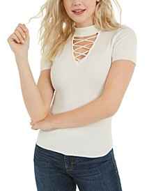 Juniors' Ribbed Lace-Up Sweater
