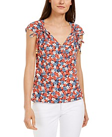 Printed Ruched-Sleeve Top