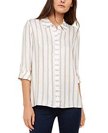INC Metallic-Stripe Shirt, Created for Macy's