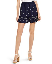 Floral-Hem Pull-On Skirt