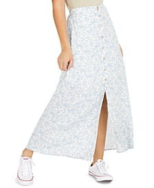 Juniors' Floral-Print Button-Up Maxi Skirt