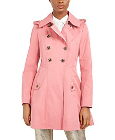 Double-Breasted Hooded Skirted Trench Coat