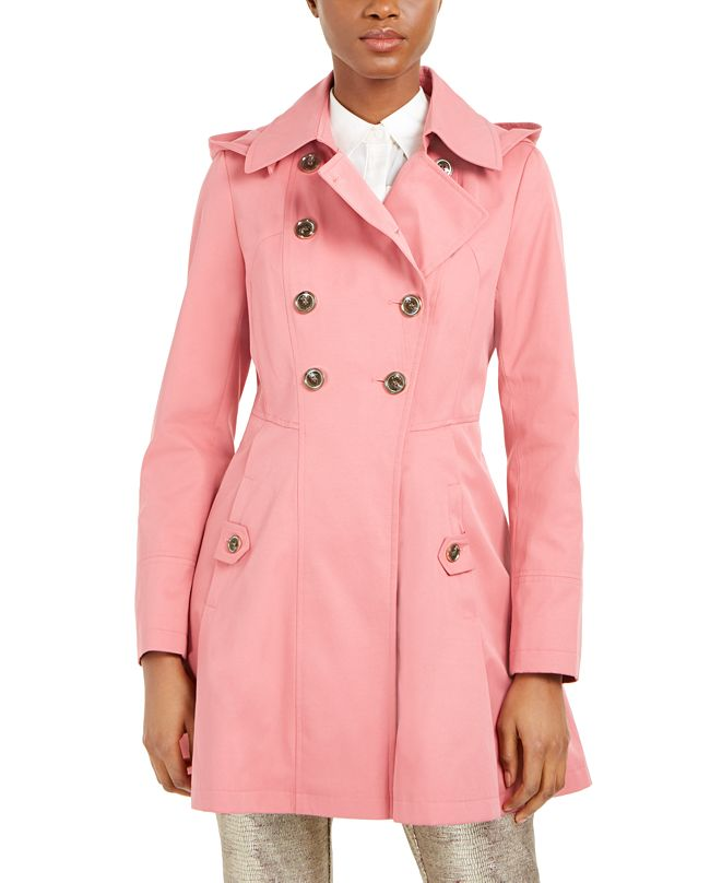 Via Spiga Double-Breasted Hooded Skirted Water-Resistant Trench Coat