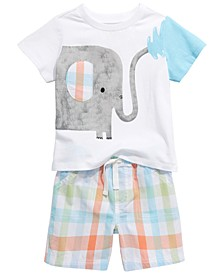Toddler Boys Spring Elephant T-Shirt & Plaid Shorts Separates, Created For Macy's