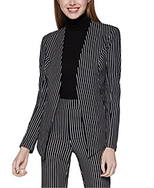 Velvet Striped Blazer and Cropped Flare-Leg Pants