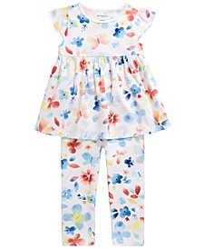 Toddler Girls Watercolor Butterfly Tunic & Leggings Separates, Created for Macy's