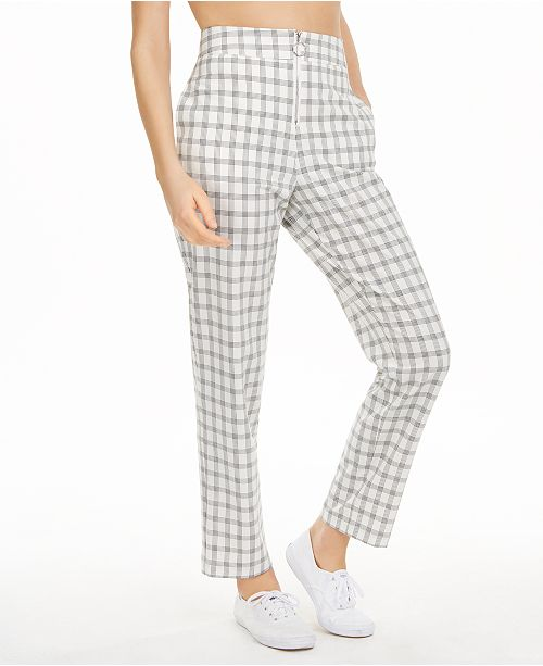 Danielle Bernstein Zip-Up Plaid Pants, Created for Macy's