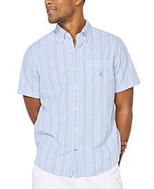 Men's Blue Sail Collection Striped Short Sleeve Shirt, Created For Macy's