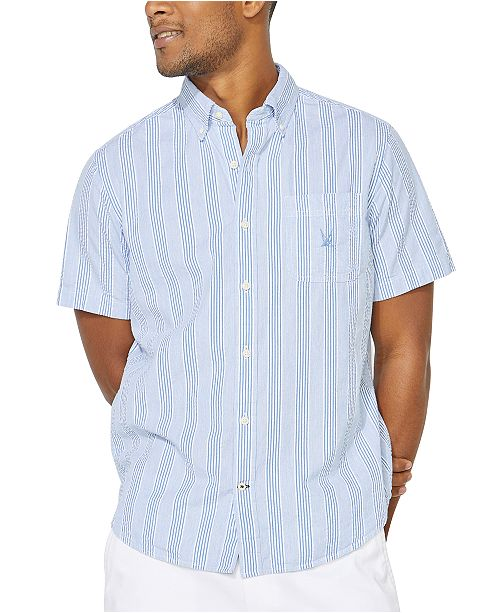 Nautica Men's Blue Sail Collection Striped Short Sleeve Shirt, Created For Macy's