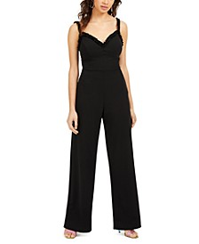 Juniors' Ruffled Bow-Back Jumpsuit