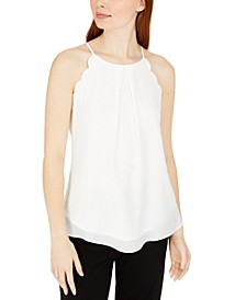 Juniors' Scalloped Sleeveless Top
