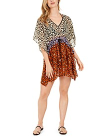 Leopard-Print Drawstring Caftan Swim Cover-Up