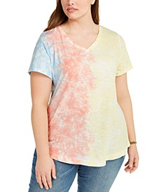 Plus Size Cotton Tie-Dyed T-Shirt, Created For Macy's