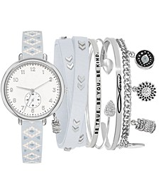 Women's Gray Printed Faux Leather Strap Watch 32mm Gift Set