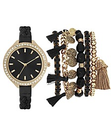 Women's Black Braided Faux Leather Strap Watch 40mm Gift Set