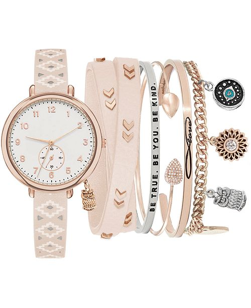 Jessica Carlyle Women's Blush Faux Leather Strap Watch 32mm Gift Set