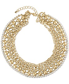 "Gold-Tone Crystal Multi-Row Collar Necklace, 15"" + 2"" extender"