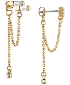 Gold-Tone Crystal Baguette & Chain-Loop Front-and-Back Earrings