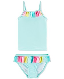 Baby Girls 2-Pc. Rainbow-Ruffle Tankini Swimsuit