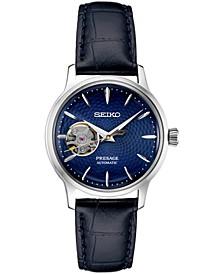 Women's Automatic Presage Blue Leather Strap Watch 33.8mm