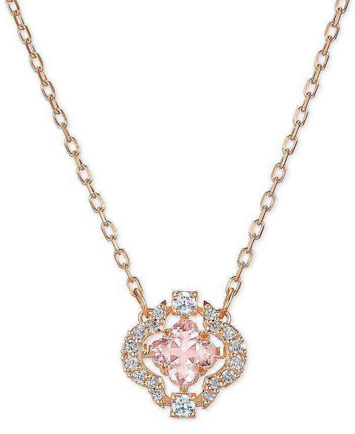 """Swarovski - Rose Gold-Tone Crystal Flower Pendant Necklace, 14-7/8"""" + 2"""" extender"""
