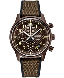 Men's Chronograph Essentials Brown Nylon & Silicone Strap Watch 42.7mm