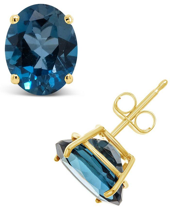 Macy's - London Blue Topaz (6-3/8 ct. t.w.) Stud Earrings in 14K Yellow Gold