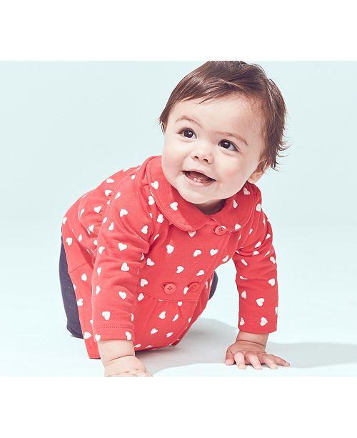 Carter's Baby Girls 3-Pc. Heart-Print Cardigan, Striped Bodysuit & Denim Pants Set