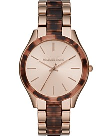 Women's Slim Runway Tortoise Acetate & Rose Gold-Tone Stainless Steel Bracelet Watch 42mm
