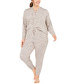 Plus Size Printed Lace-Up Hoodie & Pants Pajama Set, Created for Macy's
