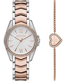 Women's Mini Whitney Two-Tone Stainless Steel Bracelet Watch 33mm Gift Set
