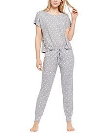 Printed Lace-Up Detail Pajama Set, Created for Macy's