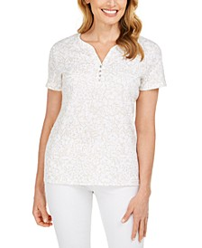 Glitter-Print Henley Top, Created for Macy's