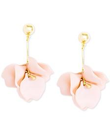 Gold-Tone Rose Drop Earrings
