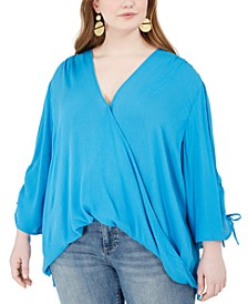 Trendy Plus Size Ruched-Sleeve Surplice Blouse