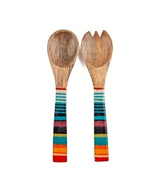 CLOSEOUT! Serape Wood & Enamel Salad Servers, Set of 2