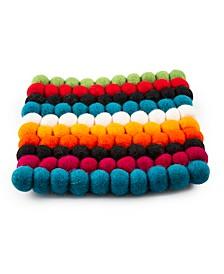 CLOSEOUT! Festive Stripe Wool Pom Pom Trivet