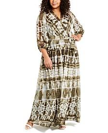 Plus Size Tie-Dyed Maxi Dress