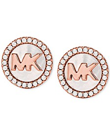 Sterling Silver Cubic Zirconia & Mother-of-Pearl Logo Stud Earrings