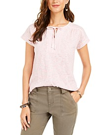 Petite Striped Tie-Neck Top, Created For Macy's