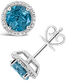 London Blue Topaz (3-1/10 ct. t.w.) and Diamond (1/6 ct. t.w.) Stud Earrings in Sterling Silver