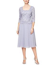 Alex Evenings Lace-Top A-Line Dress