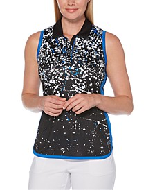 Splatter-Print Sleeveless Golf Polo