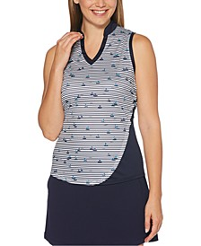 Boat-Print Sleeveless Golf Top