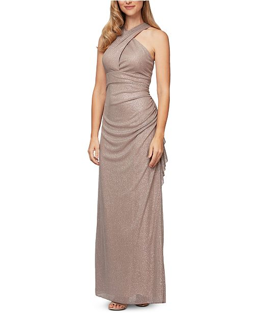 Alex Evenings Twisted Metallic Halter Gown